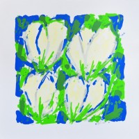 'Vier Roomkleurige Tulpen in Blauw-Groen'
