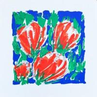 'Vier Rode Tulpen in Blauw-Groen'