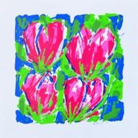 'Vier Roze Tulpen in Blauw-Groen'