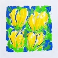 'Vier Gele Tulpen in Blauw-Groen'
