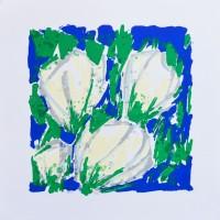 'Vier Witte Tulpen in Blauw-Groen'